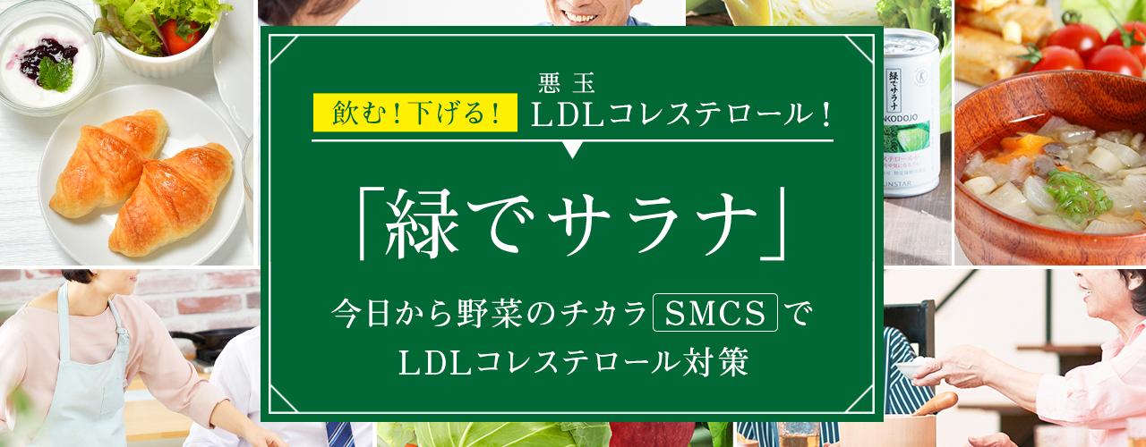 悪 玉飲む!下げる!LDLコレステロール!「緑でサラナ」今日から野菜のチカラでLDLコレステロール対策