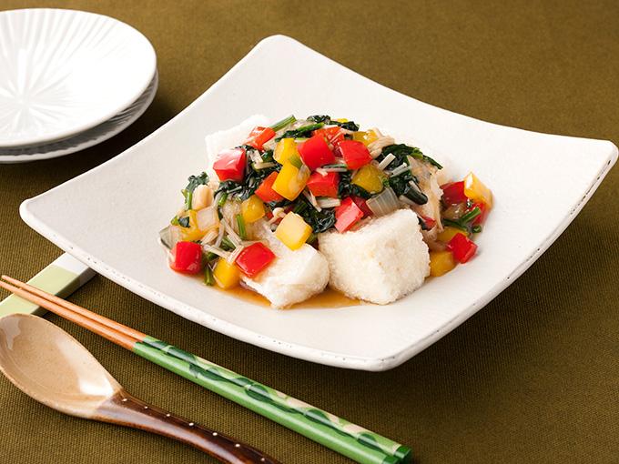 揚げ餅と豆腐の野菜あんかけ