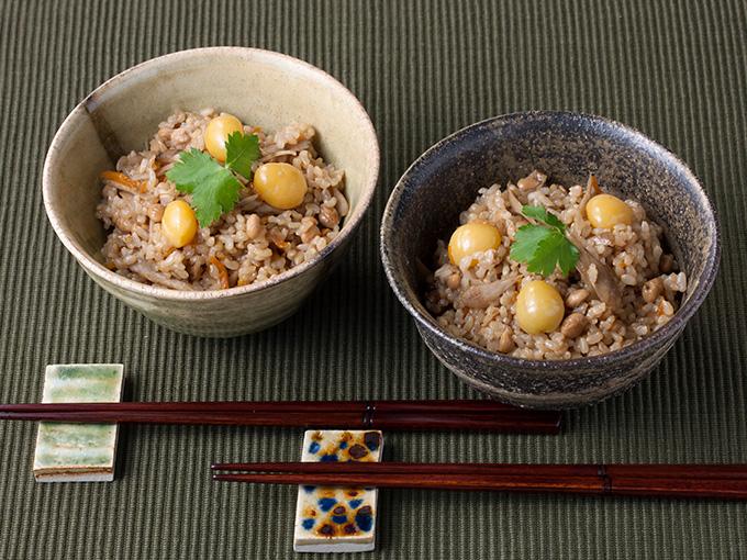 納豆と銀杏の炊き込みご飯