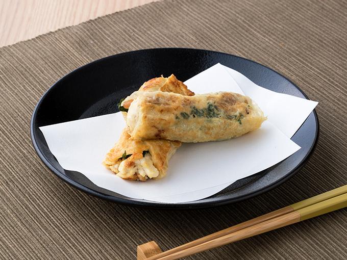 納豆と豆腐の湯葉巻き
