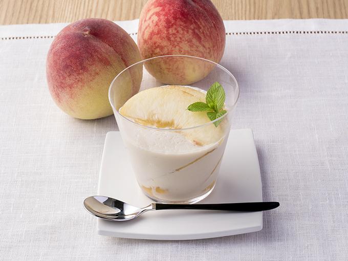 桃の豆乳プリン風