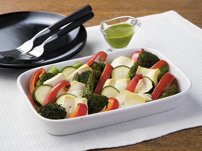 グリル野菜と豆腐のバジルドレッシング