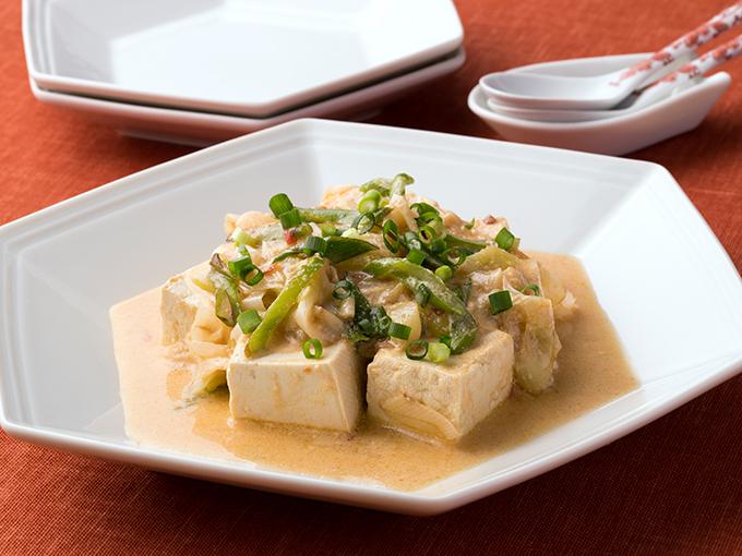 豆腐とねぎの豆乳麻婆