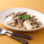 豆腐ときのこのペペロンチーノ