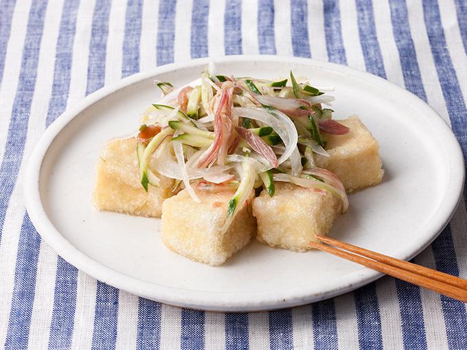 高野豆腐の香味野菜のせ