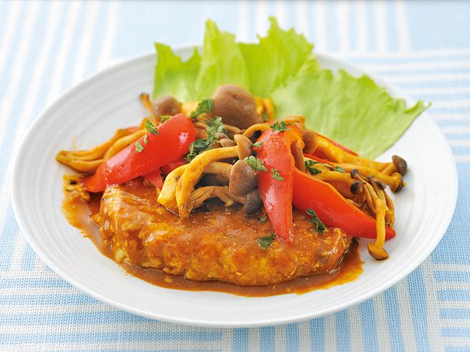 カレーソースの豆腐ハンバーグ