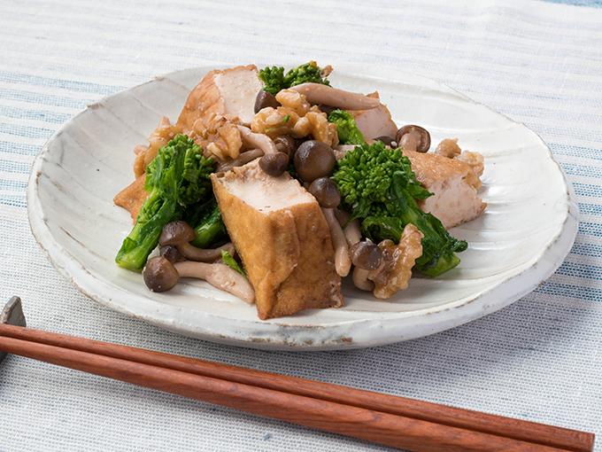 菜の花と厚揚げの味噌炒め